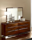 Modern Dresser and Mirror in Dark Cherry Finish Made in Italy 33B34