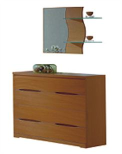 modern dresser and mirror in light cherry finish made in spain 33b204. Black Bedroom Furniture Sets. Home Design Ideas