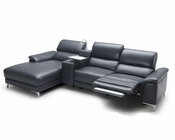 Modern Full Leather Sectional Sofa w/ Recline 44L5993
