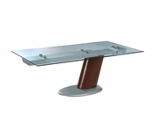 Modern Glass Top Dining Table in Brown Finish European Design 33D242