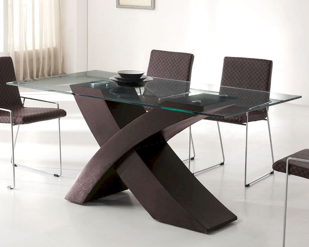 Modern Glass Top Dining Table In Wenge Finish European