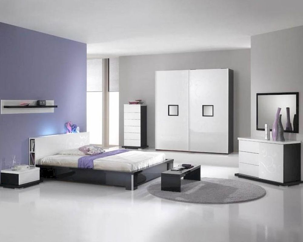 Modern high gloss finish queen bedroom set made in italy for Modern queen bedroom sets