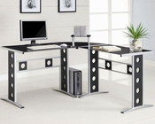 Modern L Shape Desk with Silver Frame & Black Glass CO800228