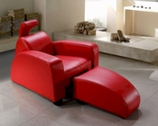 Modern Leather Lounge Chair & Ottoman 44O674