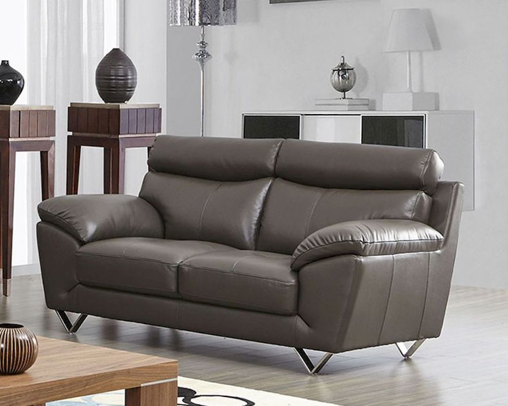 Modern Leather Sofa Set in Grey olor SF8049S - ^