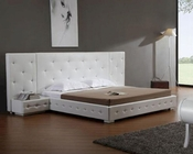 Modern Leather Platform Bed w/ Two Nightstands 44B190BD