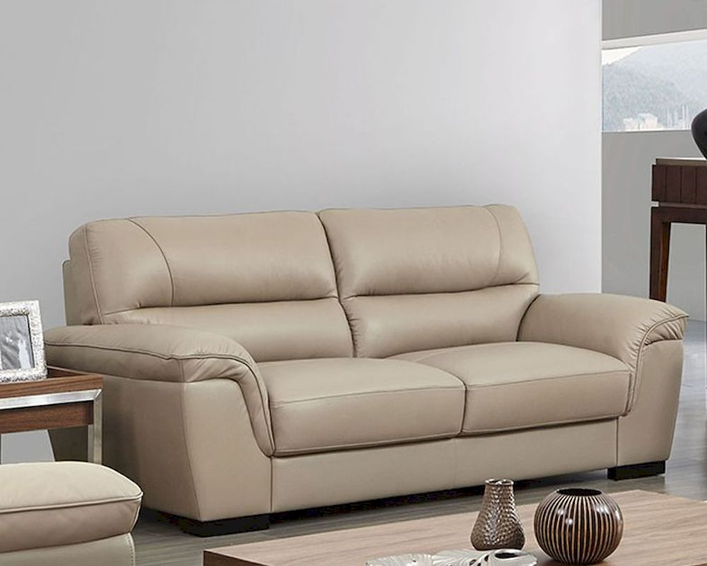 Modern Leather Sofa In Beige Color Esf8052s