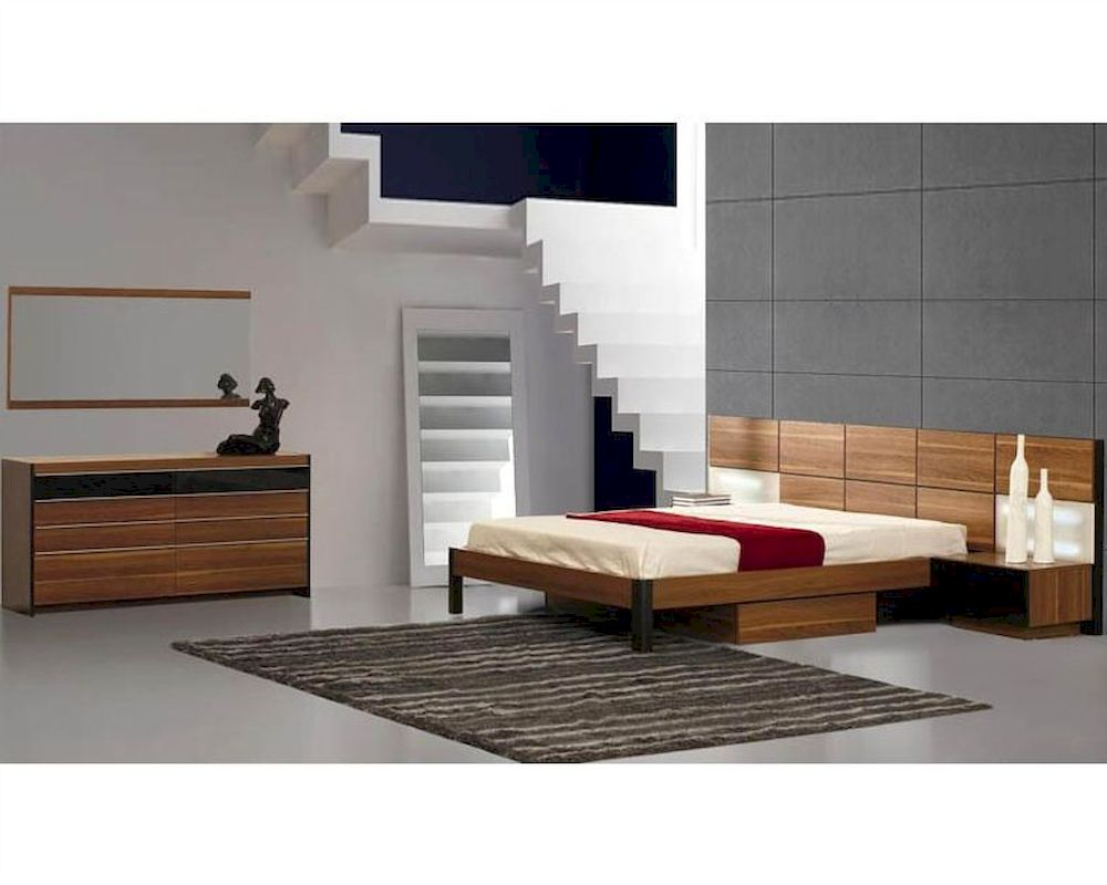 modern light walnut finish storage bedroom set made in