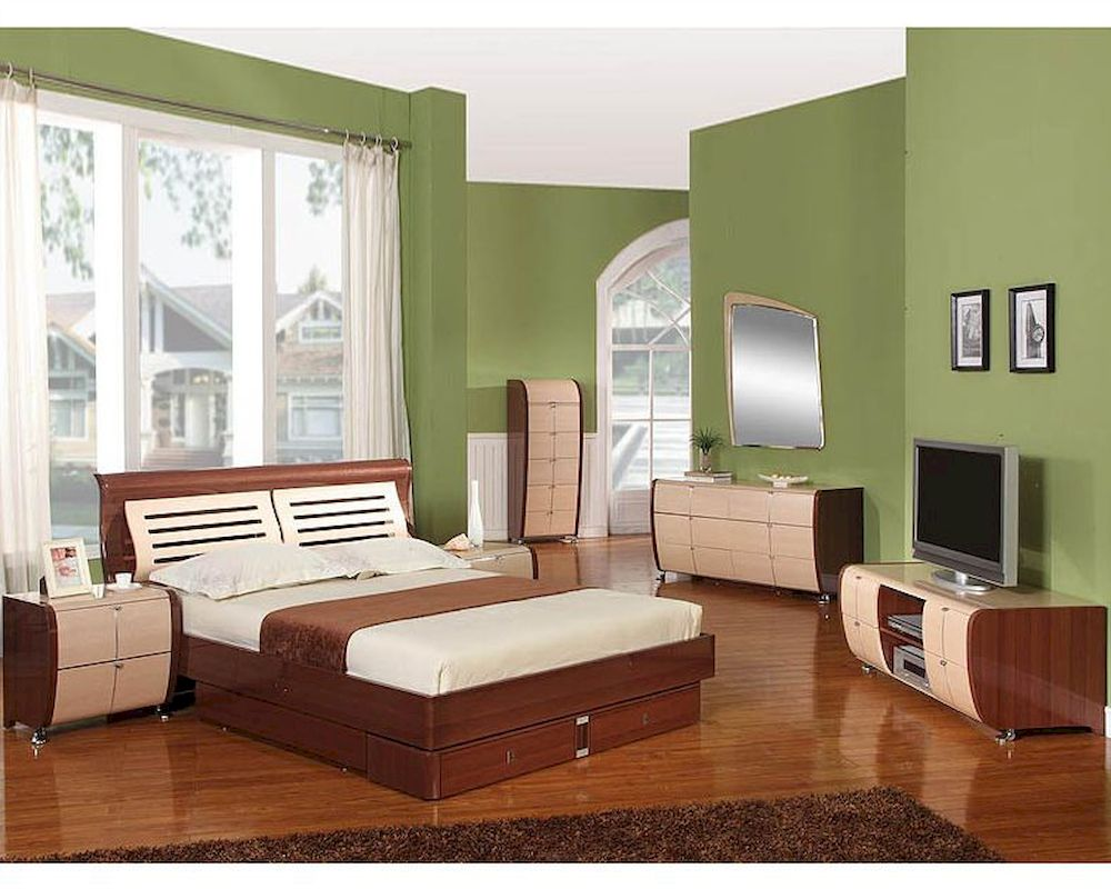 modern made in italy two tone storage bedroom set 44b4211