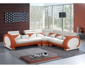 Modern Orange and White Sectional Sofa 44L7392