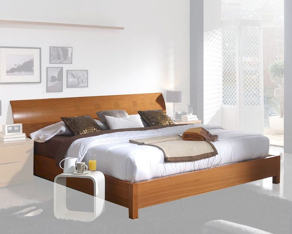 Modern Platform Bed in Light herry Finish Made in Spain 33B202 - ^
