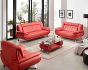 Modern Red Bonded Leather Sofa Set 44L2906R