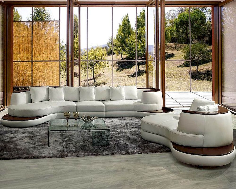 Modern Rounded Corner Leather Sectional Sofa Set 44L105