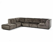 Modern Sectional Sofa in Dark Grey Fabric 44L5925