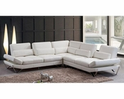 Modern Snow White Leather Sectional Sofa 44L5985