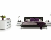 Modern Style Bedroom Set w/ Grey Leather Platform Bed 44B107SET
