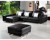 Modern Style Black Leather Sectional Sofa 44LI957