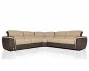 Modern Full Italian Leather Sectional Sofa w/ Recliners 44L5975