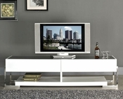 Modern TV Console with Black Glass Top BM650-WHT