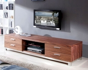 Modern TV Console with Glass Shelf in Light Walnut BM120-BRN