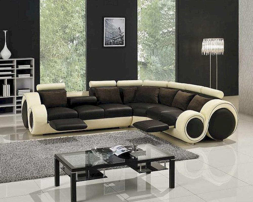 Modern Two Tone Leather Sectional Sofa Set With Recliners