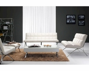 Modern Upholstered in White Leatherette Sofa Set 44F3085-SET