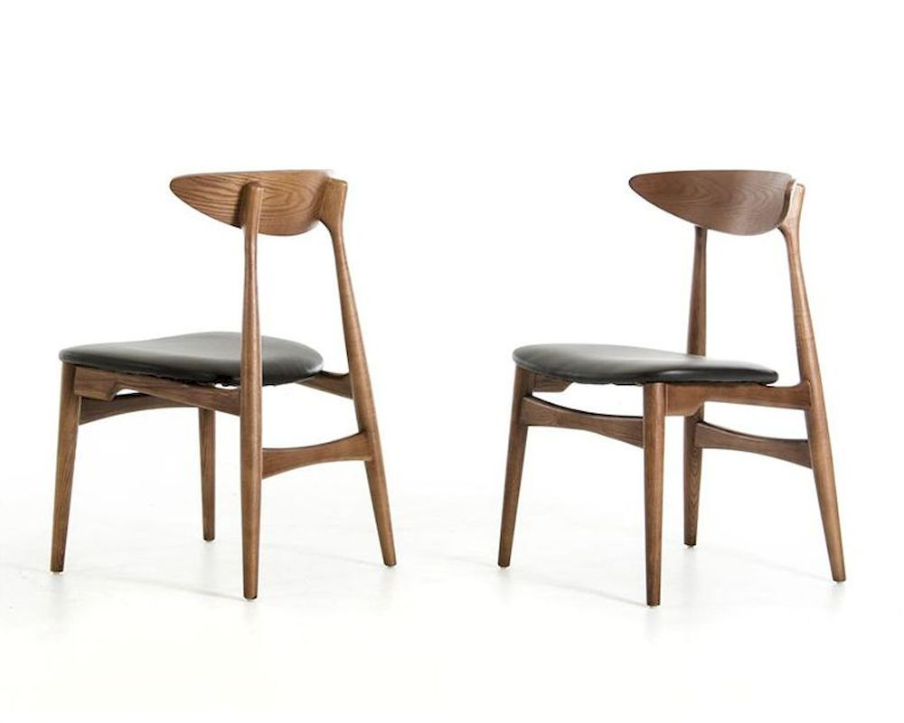 modern walnut and black dining chair 44d12086 set of 2