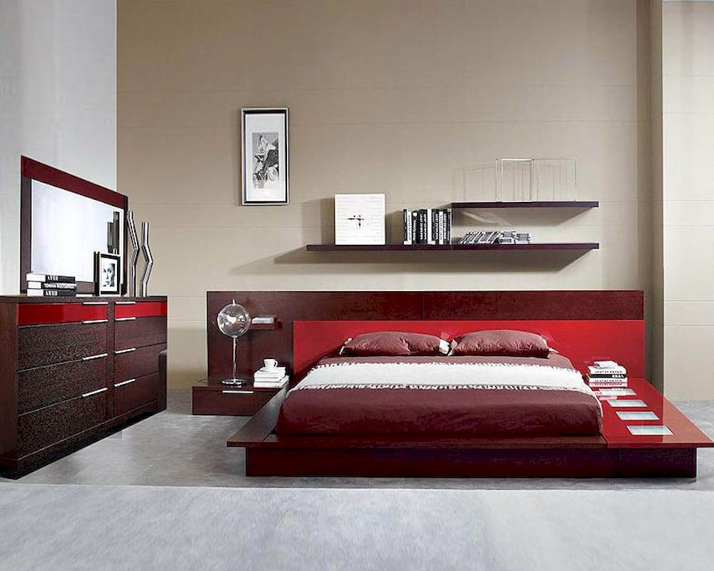 Modern Wenge/ ed Finish Bed with Night Stands Made in Italy 44B6512 - ^