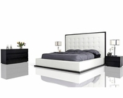 Modern Wenge w/ White Leatherette Bed 44B173BD
