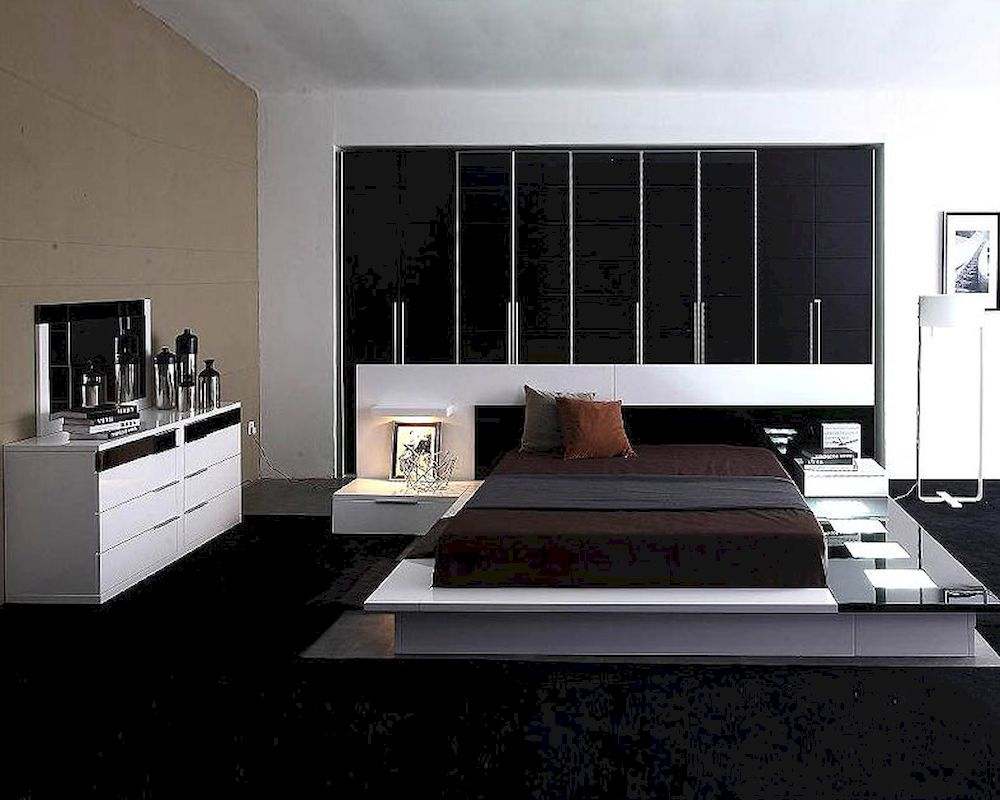 modern white black finish bedroom set made in italy 44b3511