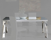 Modern White Glass Top Dining Table Cruz European Design Spain 33D82