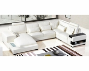 Modern White Leather Sectional Sofa 44L5976