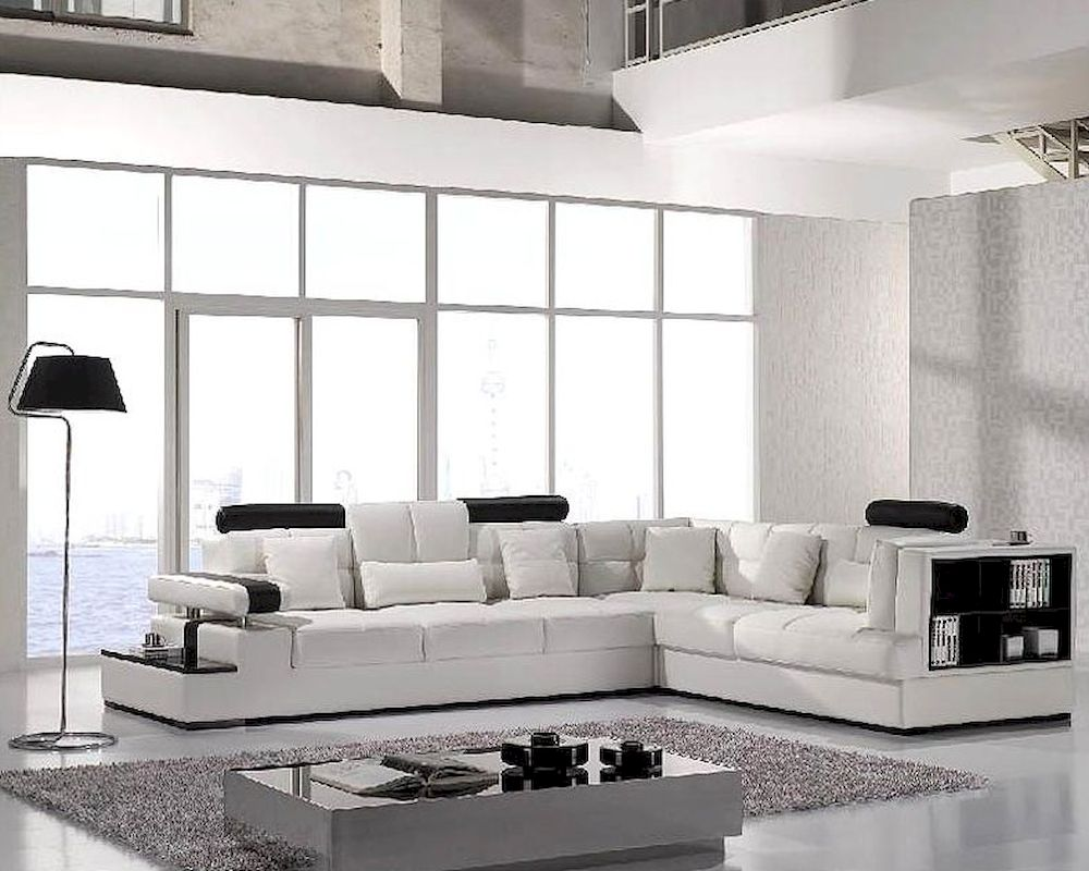 Modern White Leather Sectional Sofa Set 44L117 - ^