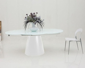 Modern White Matt Dining Set w/ Round Table 44D2609XTW-SET