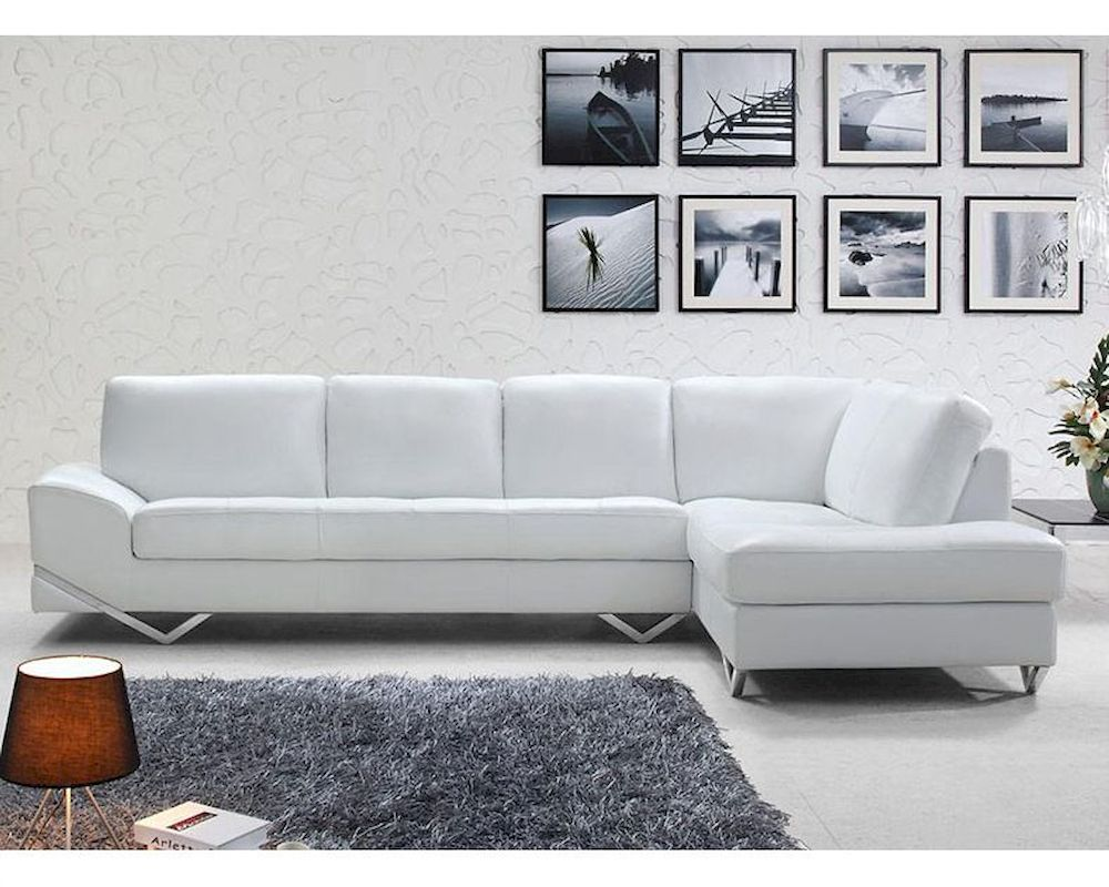 White Leather Sectional : Modern White or Latte Leather Sectional Sofa Set 44L6064
