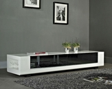 Modern White TV Console with Black Glass Drawers BM631-WHT