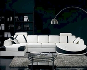 Modern White with Black Accents Leather Sectional Sofa Set 44LT57