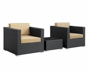 Modway Burrow Patio Sectional Set in Espresso Mocha MY-EEI-995 (3pc)