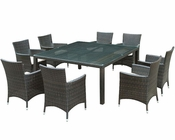 Modway Patio Channels Dining Set in Brown/ White MY-EEI833BW