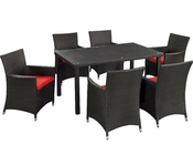 Modway Patio Deco Dining Set in Espresso/ Red MY-EEI984ER
