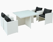 Nestle Outdoor Dining Set in White Black by Modway MY-EEI-838WHIBLK