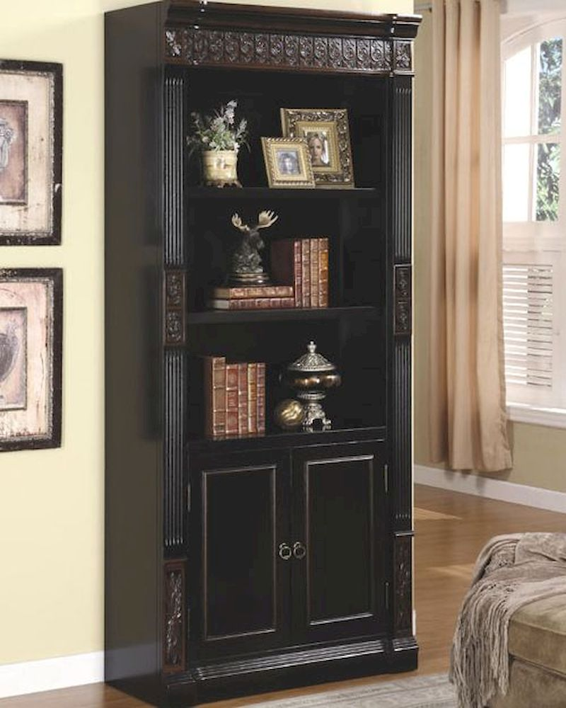 Nicolas Bookcase With Carvings And Enclosed Storage