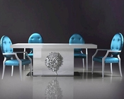 Nora Modern White Lacquer Dining Set 44DLS202SET