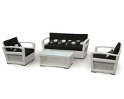 Nora White Finish Outdoor Patio 4pc Sofa Set 44PH18W