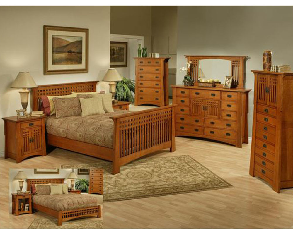Oak Bedroom Set In Cherry Finish Bungalow By Ayca Ay Ap5 502set