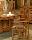 Oak Leather Seat Arm Chair Bungalow by Ayca AY-AP5-2002 (Set of 2)