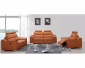Orange Italian Leather Sofa Set w/ Recliners 44L5304