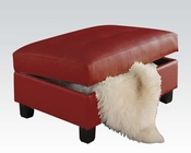 Ottoman w/ Storage Kiva Red by Acme Furniture AC51187