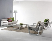 Outdoor Sofa Set in White Weatherproof Fabric 44P212-SET