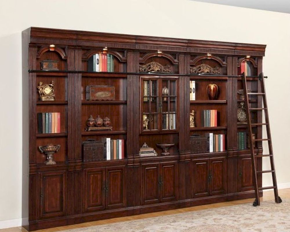 Awesome Home Library Design Ideas Blue Bookshelves In Doublehigh Home